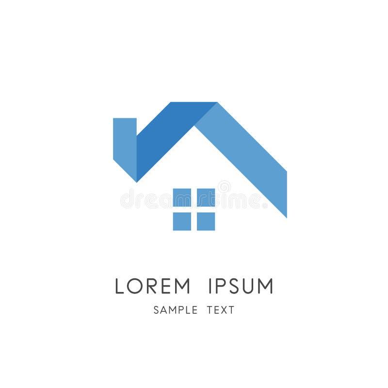 Logotipo dos bens imobiliários - casa da fita com janela ilustração do vetor