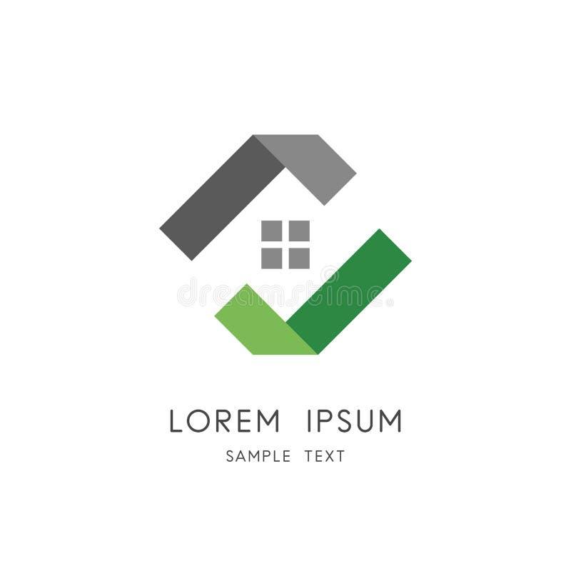 Logotipo dos bens imobiliários - casa ou casa com janela e sinal ilustração stock