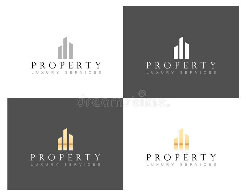 Logotipo dos bens imobiliários, propriedade de casa e logotipo home luxuosos da construção civil, molde do vetor ilustração stock