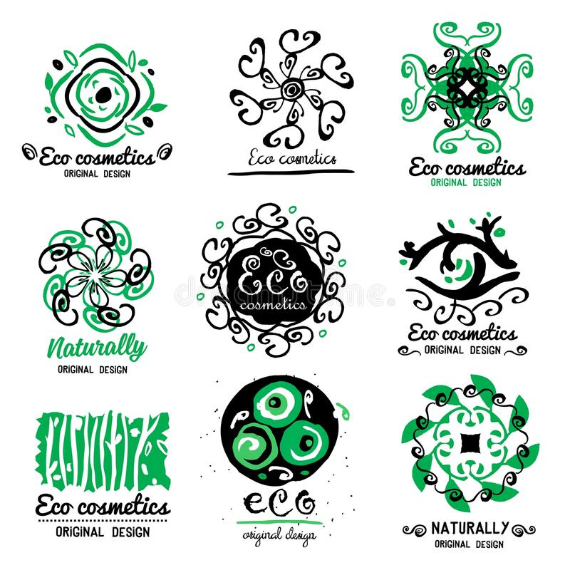 Logotipo dos cosméticos de ECO Logotipo feito a mão de Eco do ornamento Limpadores naturais, cosméticos Produto natural de ECO ilustração royalty free
