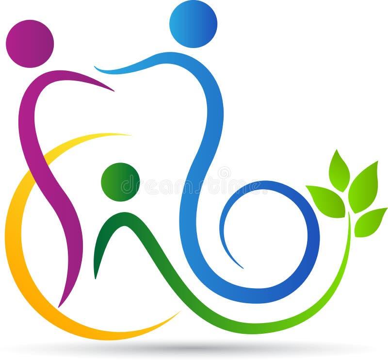 Logotipo dos cuidados dentários da família ilustração stock
