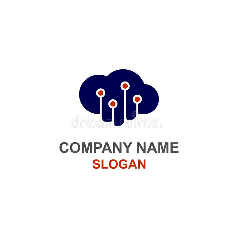 Logotipo dos dados da nuvem do computador ilustração do vetor