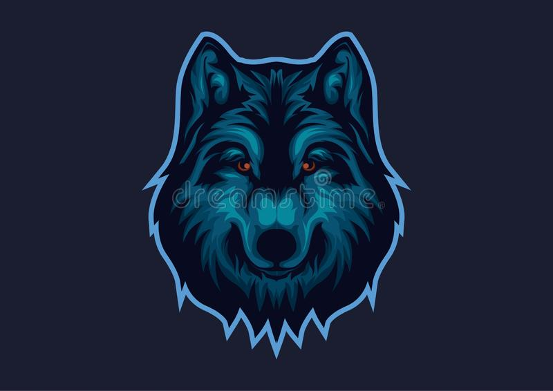logotipo dos E-esportes com o tema b?sico dos lobos Molde principal do logotipo do esport do lobo ilustração stock
