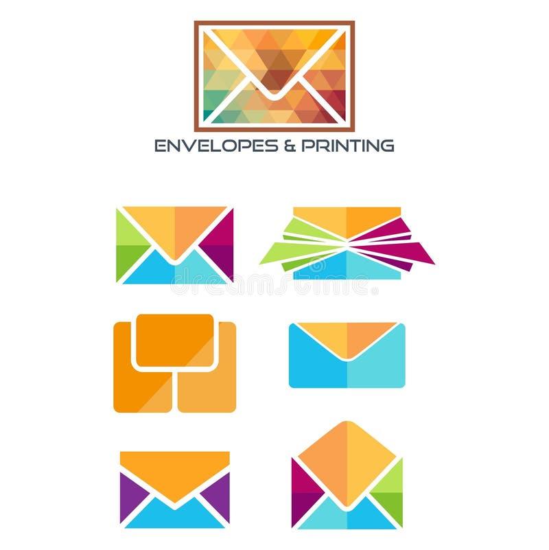 Logotipo dos ENVELOPES E IMPRIMIR ilustração royalty free