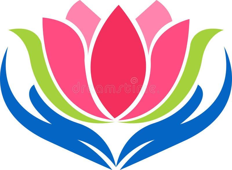 Logotipo dos lótus da mão ilustração do vetor