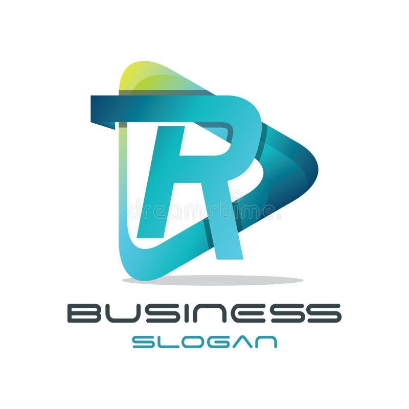Logotipo dos meios da letra R ilustração stock