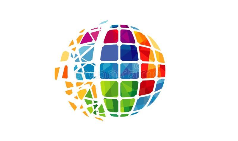 Logotipo dos polígono do pixel do mundo do espectro ilustração stock