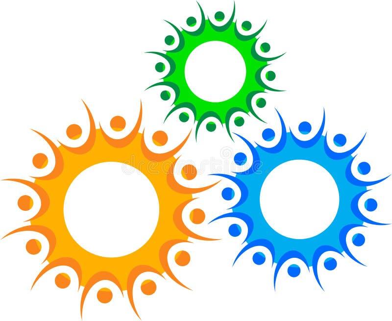 Logotipo dos povos da engrenagem ilustração do vetor