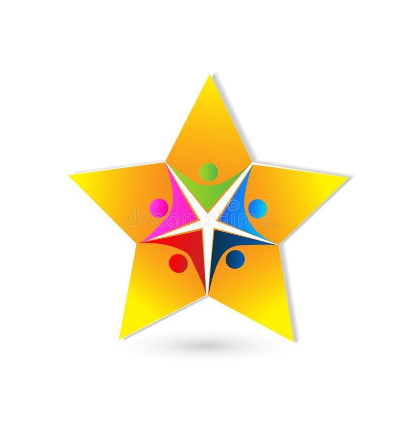 Logotipo dos povos da estrela dos trabalhos de equipa ilustração do vetor