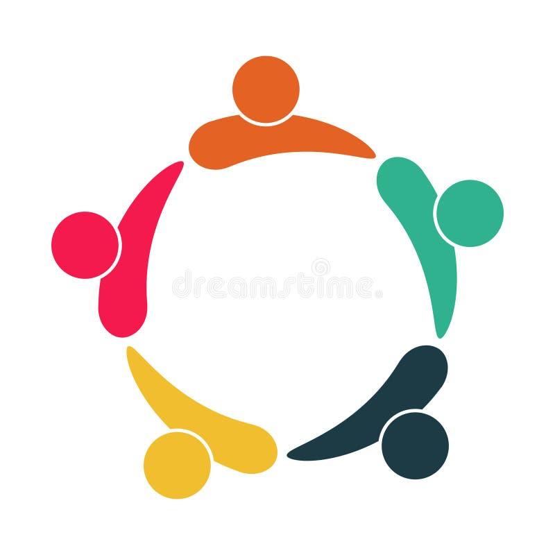 Logotipo dos povos da sala de reuni?o grupo de quatro pessoas no círculo, ilustração do vetor ilustração do vetor