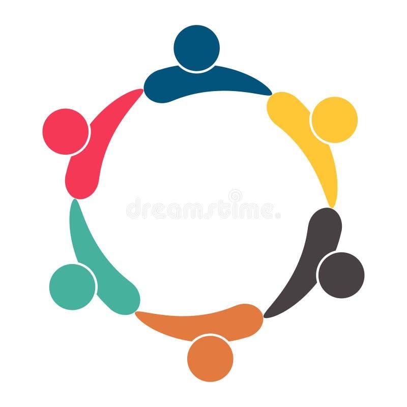 logotipo dos povos da sala dos trabalhos de equipa da reuni?o grupo de seis pessoas no círculo, ilustração do vetor ilustração stock