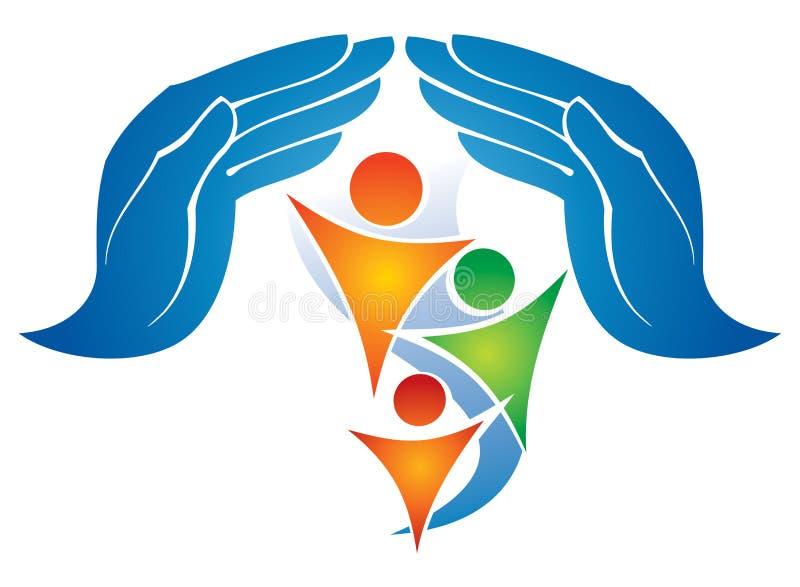Logotipo dos povos do cuidado ilustração stock