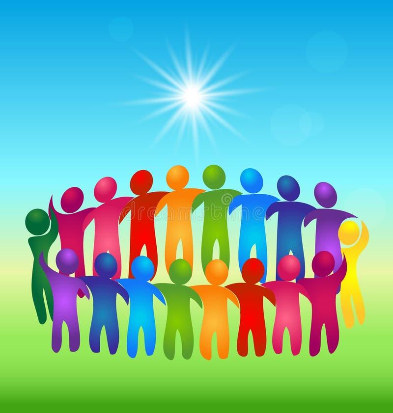 Logotipo dos povos dos trabalhos de equipa da reunião ilustração royalty free