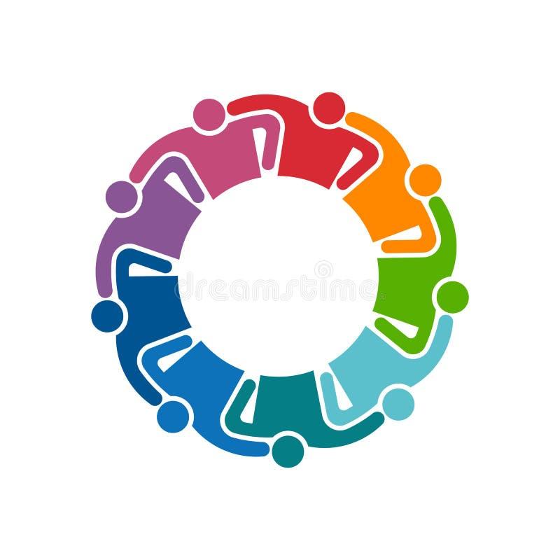 Logotipo dos povos Grupo de nove pessoas Ilustração do gráfico de vetor ilustração royalty free