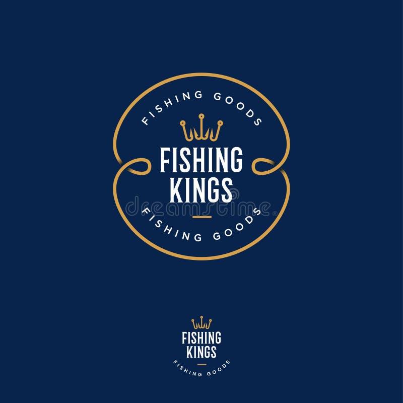 Logotipo dos reis da pesca Pescando ou logotipo da loja do equipamento de pesca Emblema de Fisher Club ilustração do vetor