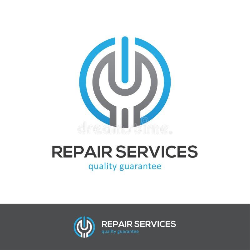 Logotipo dos serviços de reparações com chave e botão do poder ilustração do vetor