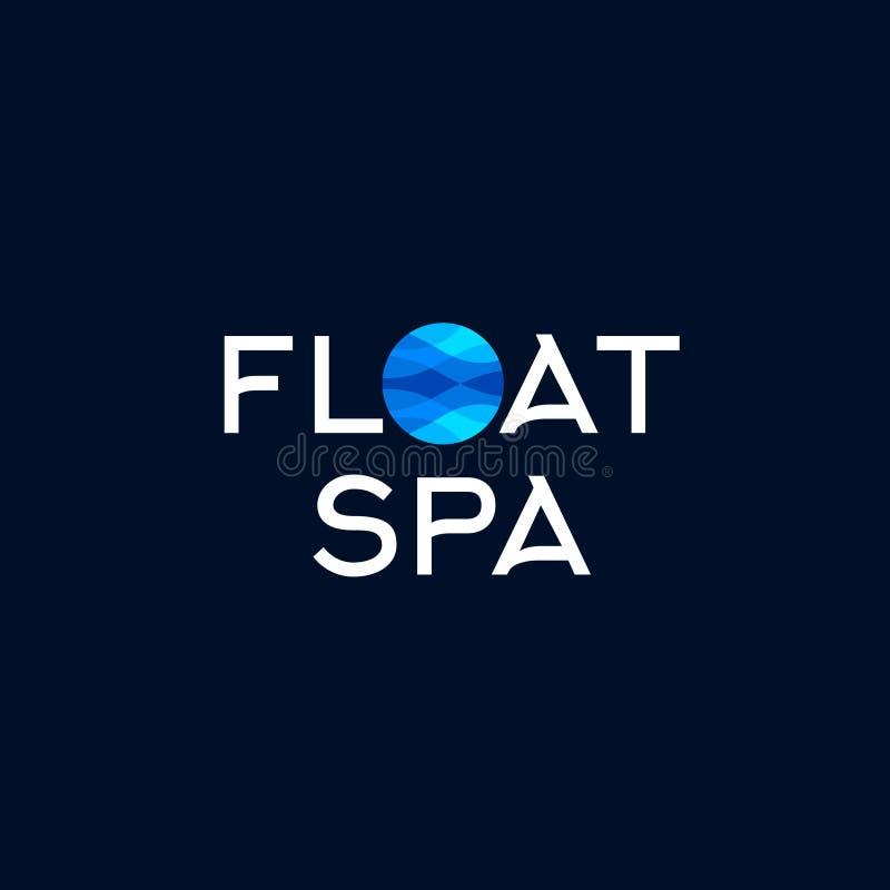 Logotipo dos termas do flutuador O azul acena em um círculo em um fundo escuro Thalassotherapy, emblema do spa resort ilustração royalty free