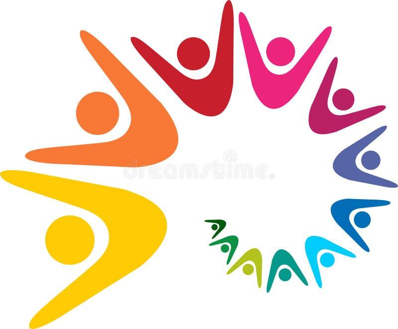 Logotipo dos trabalhos de equipa ilustração do vetor