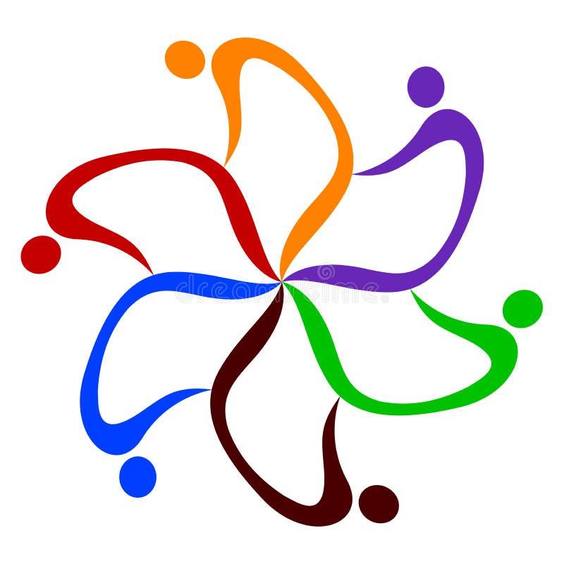Logotipo dos trabalhos de equipa ilustração stock