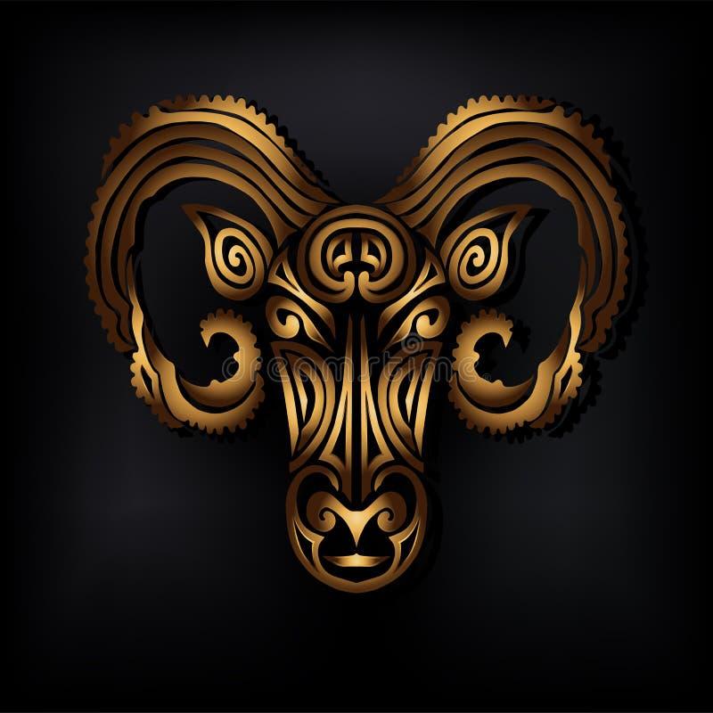 Logotipo dourado da cabeça do Ram isolado no fundo preto ilustração stock