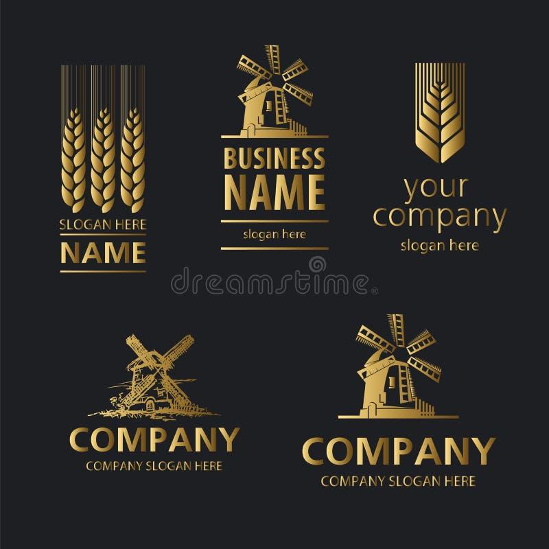 Logotipo do pão em um fundo preto ilustração stock