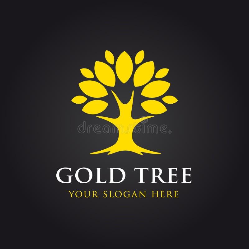 Logotipo dourado do vetor da árvore ilustração do vetor