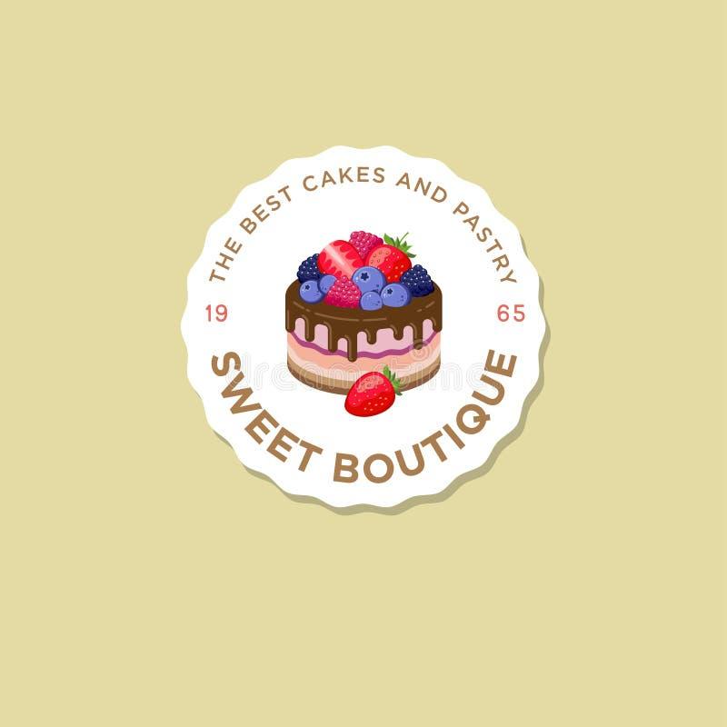 Logotipo dulce de la casa Emblema de las tortas Logotipo de la panadería y del café Una torta hermosa con las bayas stock de ilustración