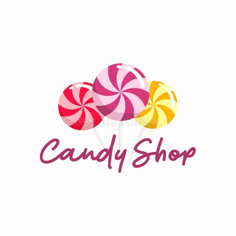 Logotipo dulce de la tienda del caramelo, muestra, icono, plantilla del diseño del vector libre illustration