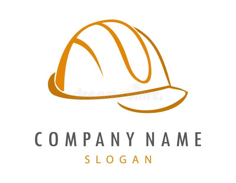 Logotipo duro abstrato do capacete no fundo branco ilustração royalty free