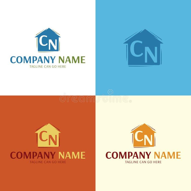 Logotipo e ícone artísticos da casa Ilustra??o do vetor ilustração stock