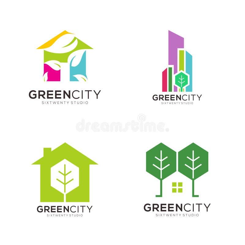 Logotipo e ícone completos do molde de Real Estate da cor verde ilustração do vetor