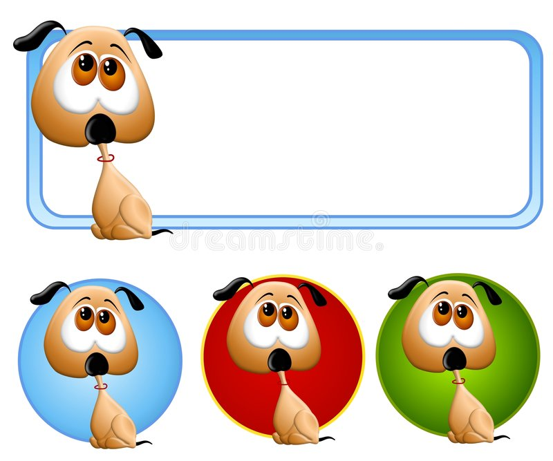 Logotipo e ícones tristes do filhote de cachorro ilustração royalty free