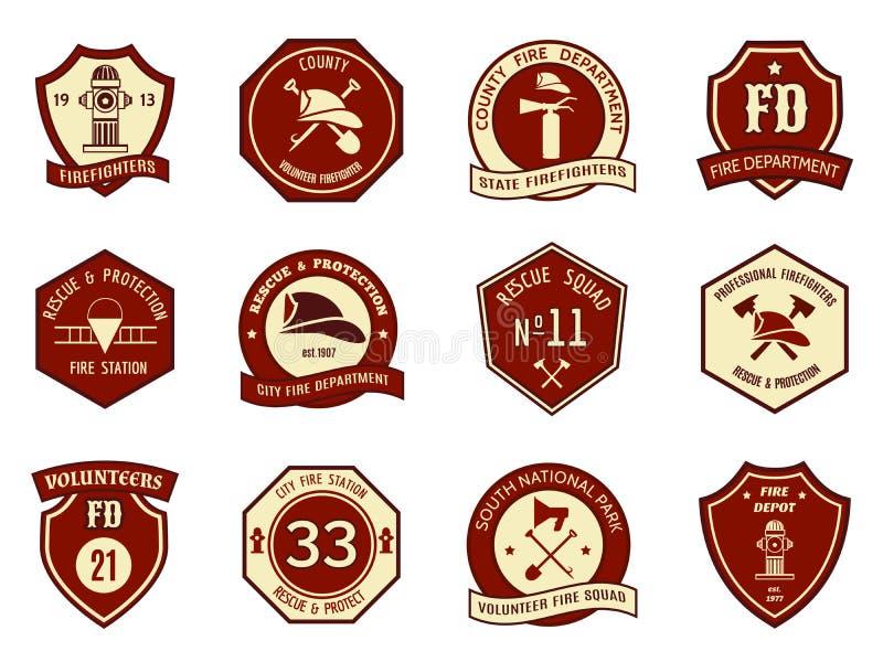 Logotipo e crachás do departamento dos bombeiros ilustração stock