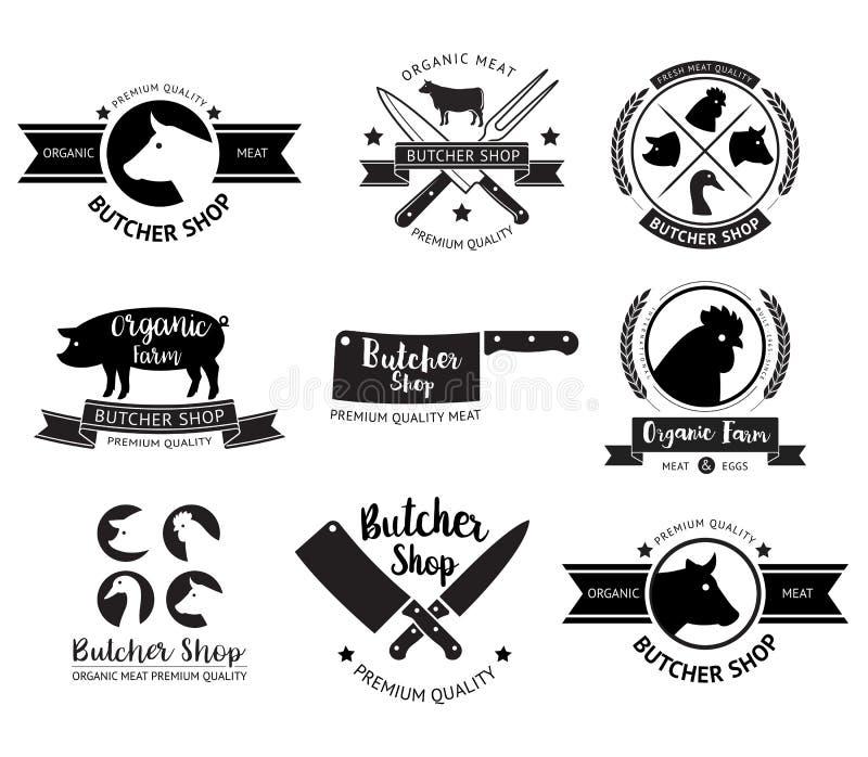 Logotipo e etiqueta do açougue Vetor ilustração royalty free