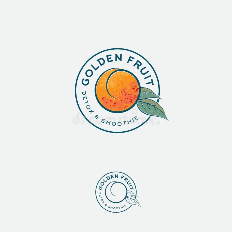 Logotipo e etiqueta dourados do fruto Fruto do abricó ou do pêssego com folhas em um círculo ilustração royalty free