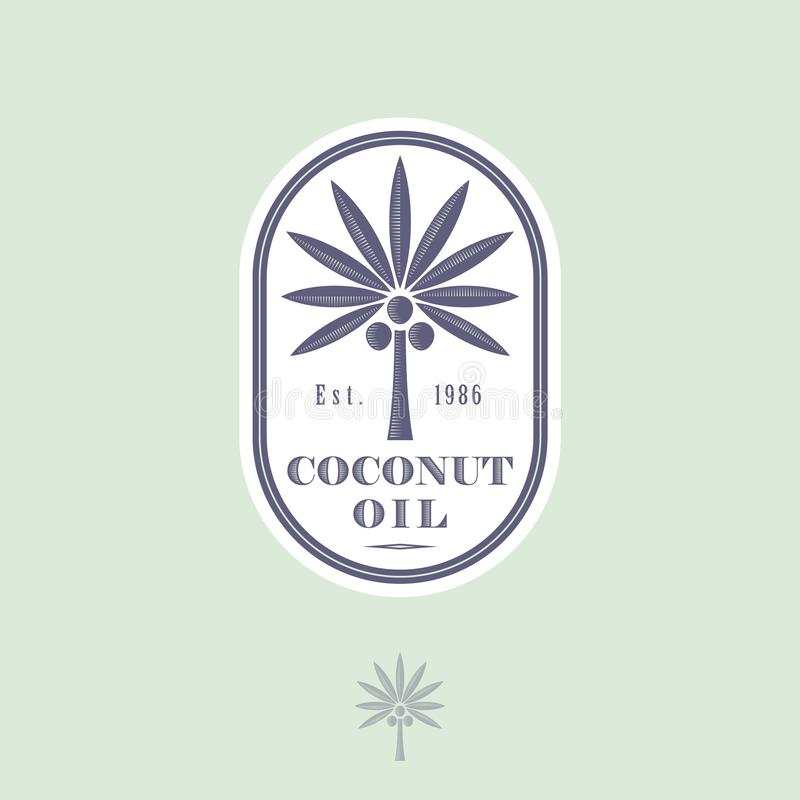 Logotipo e etiqueta para o óleo de coco para empacotar Árvore de coco com letras em um ícone arredondado ilustração do vetor