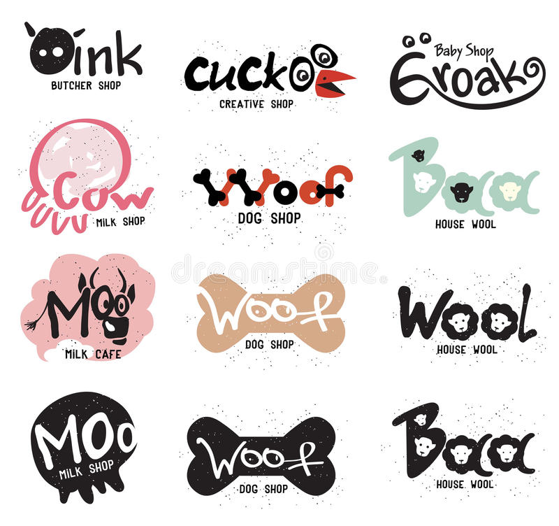 Logotipo e etiquetas criativos retros ajustados para lojas sob a forma dos animais amusing ilustração stock