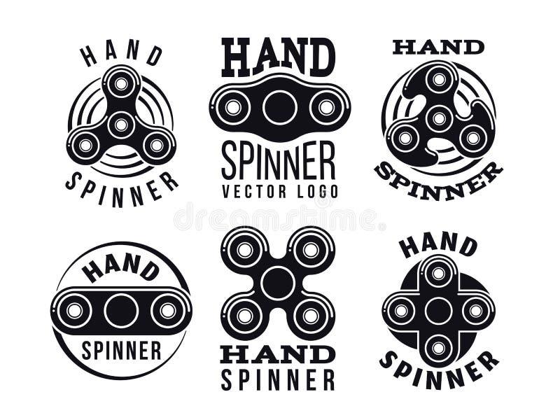 Logotipo e etiquetas do vetor do girador da mão Emblemas dos giradores da inquietação ilustração stock