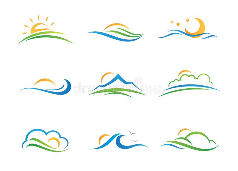 Logotipo e icono del paisaje imagen de archivo libre de regalías