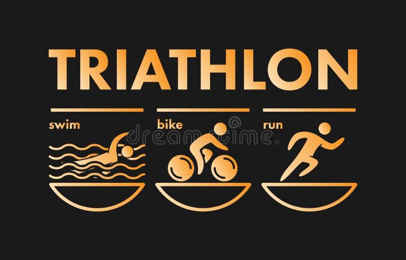 Logotipo e icono del Triathlon El oro figura el triathlete libre illustration