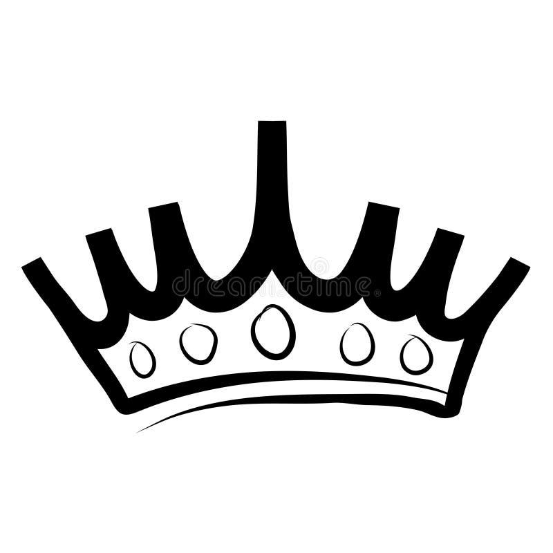 Logotipo e icono exhaustos de la corona de la mano en el ejemplo blanco, común del vector ilustración del vector