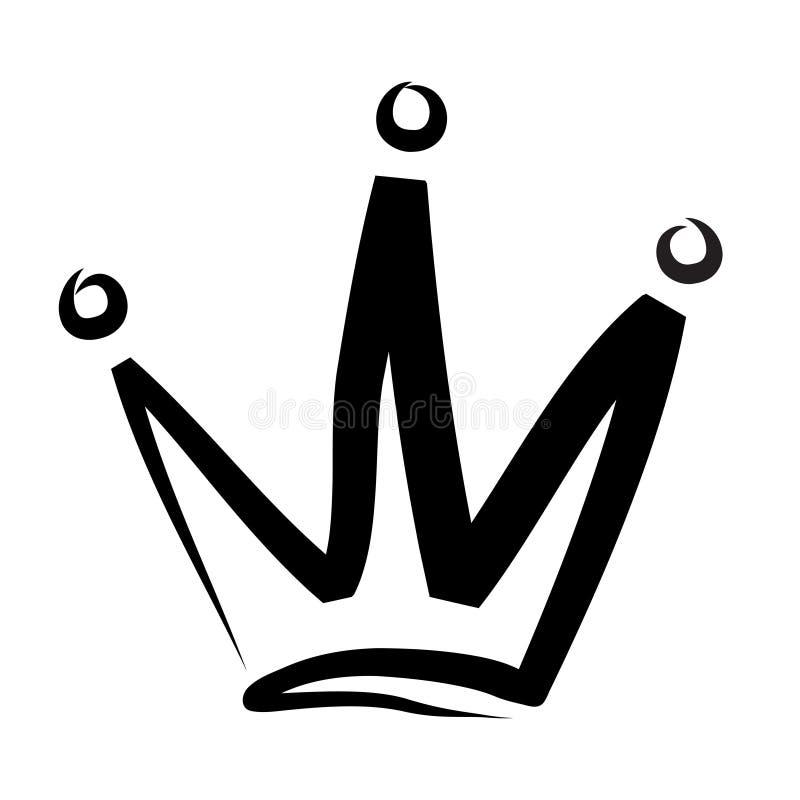 Logotipo e icono exhaustos de la corona de la mano en el ejemplo blanco, común del vector stock de ilustración