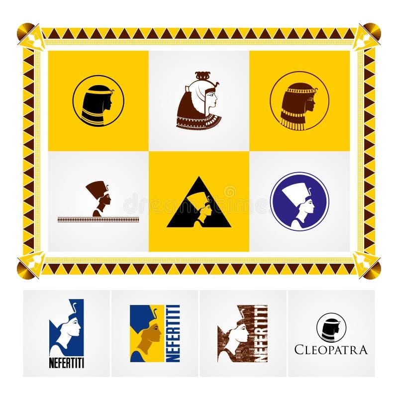 Logotipo e iconos egipcios hermosos marco del Egipcio-estilo libre illustration