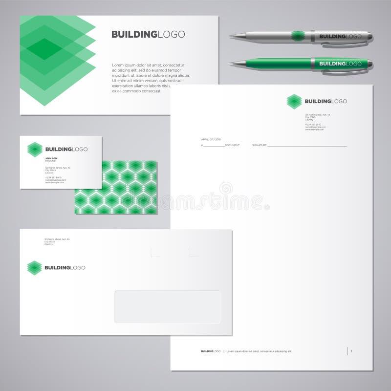 Logotipo e identidade corporativa verdes da construção Logotipo e identidade transparentes verdes das camadas ilustração stock