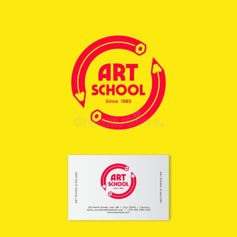 Logotipo e identidade da escola do desenho da arte Emblemas da faculdade criadora ilustração do vetor