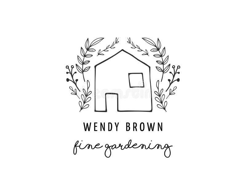 Logotipo e ilustração modernos simples e à moda, elemento tirado mão do vetor da casa ilustração stock