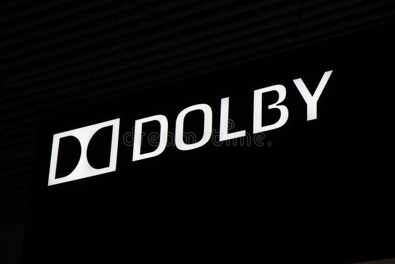 Logotipo e letras do Dolby fotografia de stock royalty free