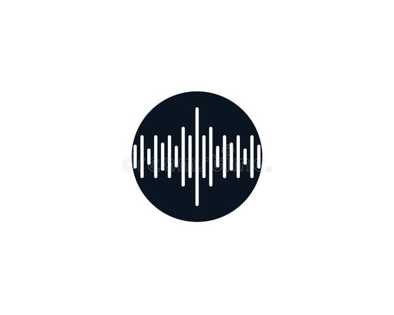 Logotipo e símbolos da música da onda ilustração stock