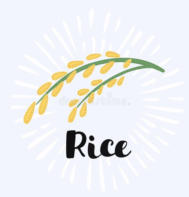Logotipo e sinal do arroz ilustração do vetor