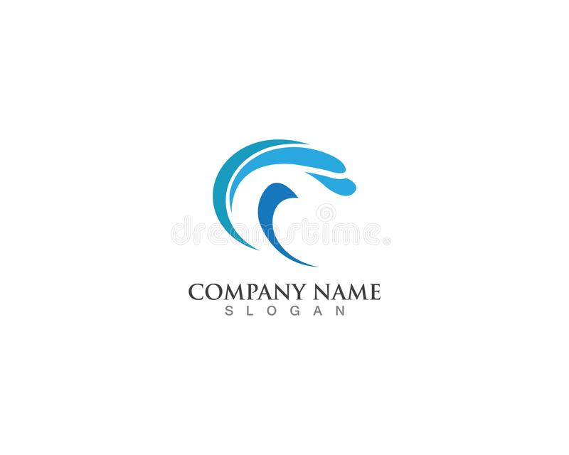 logotipo e vetor azuis do respingo da onda da água ilustração stock